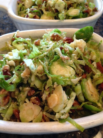 I used 2 cups Brussels sprouts (all I got from the garden) and halved the dressing amounts to get a perfect side-salad for just my husband and I. Did you know Brussels sprouts are his favorite vegetable? He even likes 'em boiled and soggy. True story.