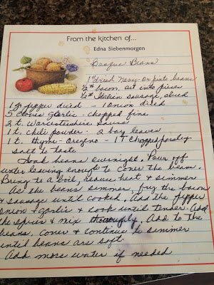 This recipe is for Basque Beans (crockpot baked beans with a bunch o meat). I remember she sent this to me after Matt and I enjoyed it at her home on our visit in 2003.
