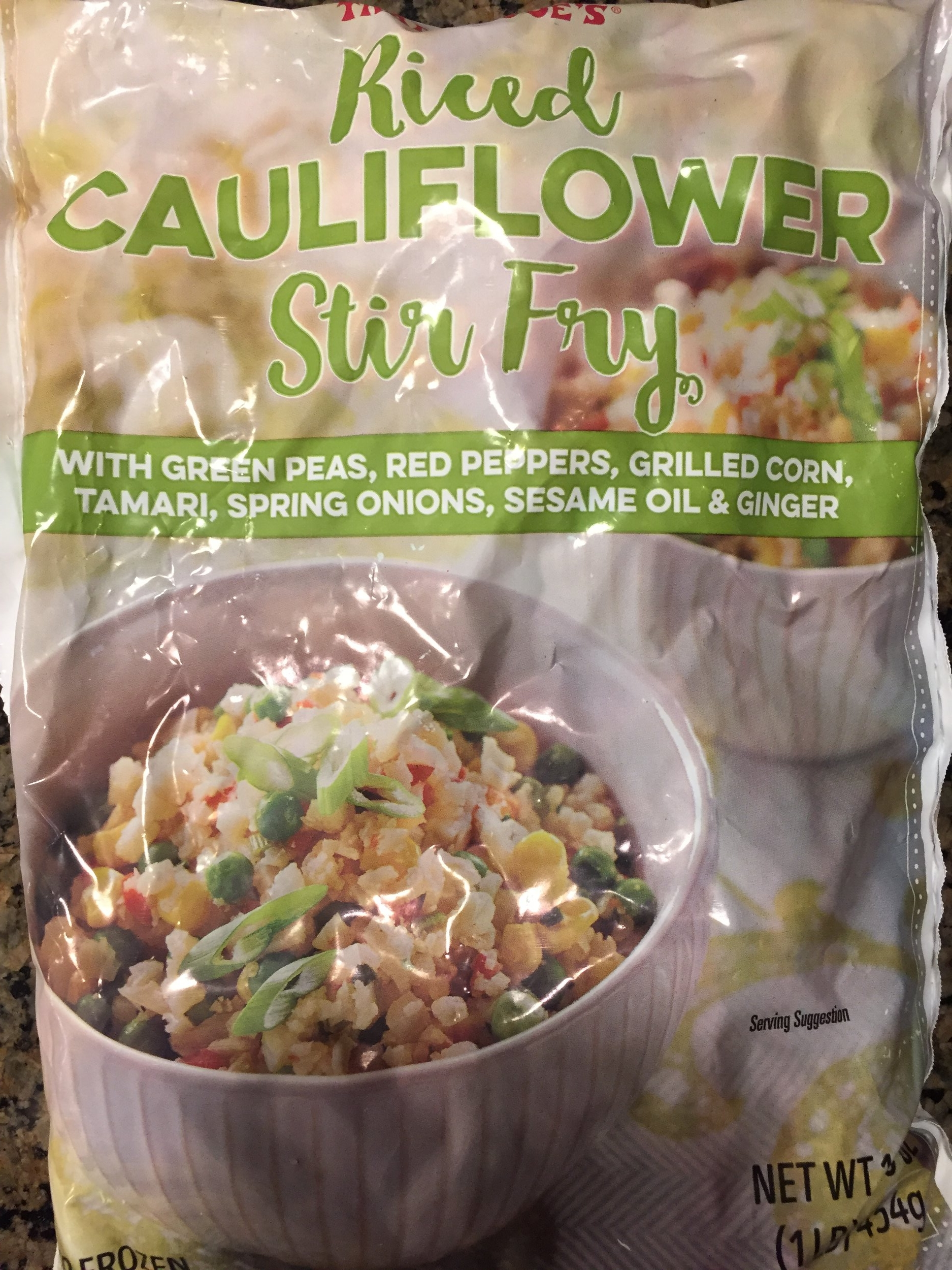 Riced Cauliflower Stir Fry--In the freezer section. Open the bag, saute, add cooked protein if you so desire, or a scrambled egg. Dinner is done. This is seasoned so well, darn near perfection.
