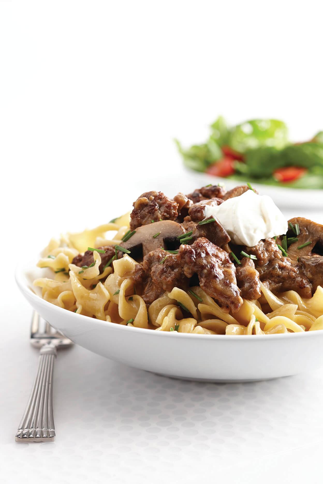 Ground Beef Stroganoff with Garlic-Buttered Noodles