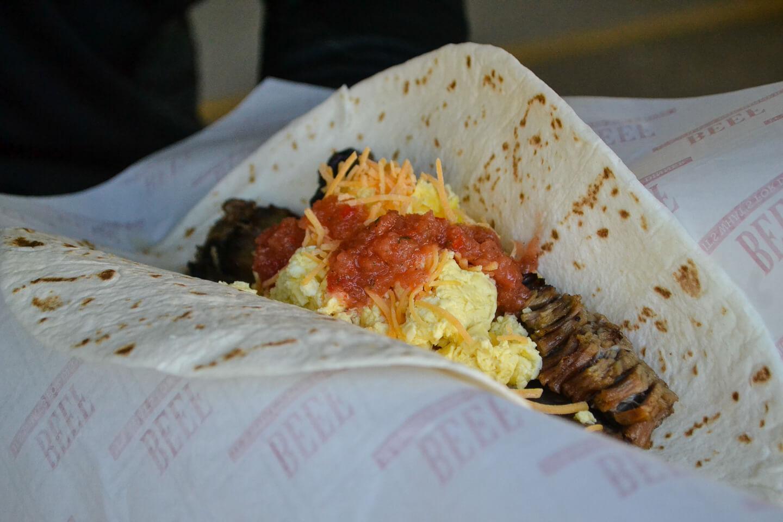 Smoked Brisket Breakfast Burrito with Summertime Salsa