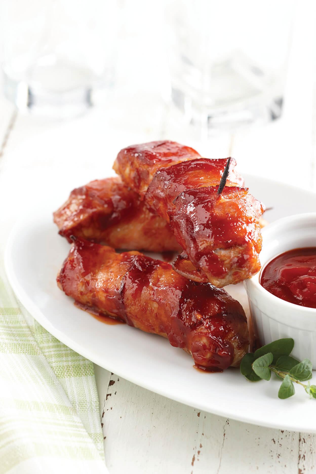 BBQ Bacon-Wrapped Pork Loin Strips
