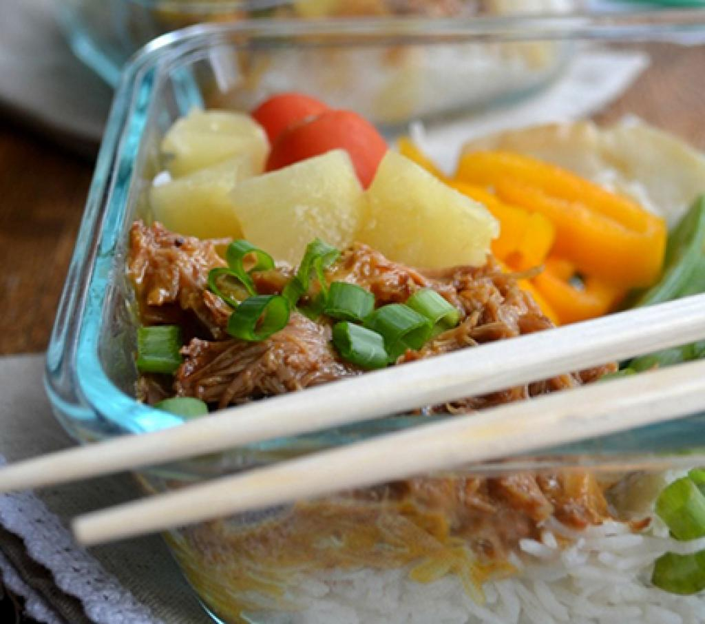 Sweet and Sour Pork Lunch Bowls recipe and photo courtesy of Kristen Greazel.