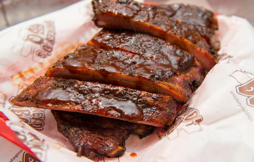 A basket of ribs at Smokey D's BBQ.