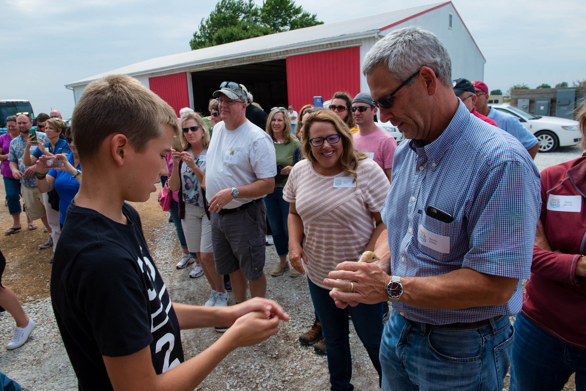 The Graber family welcomes 40 Iowans to their farm, showing off turkey chicks during Expedition Farm Country 2017.