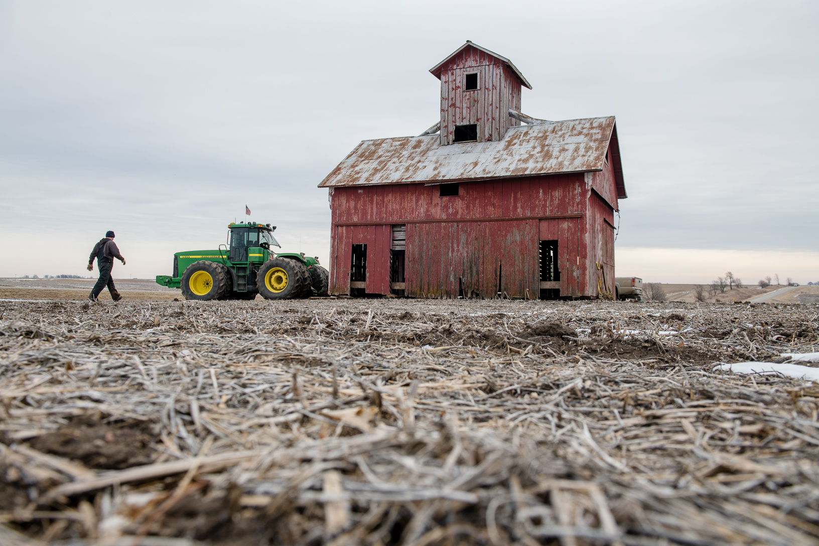 The crew chose this time of year to move the barn knowing the field would most likely not have deep snow and the ground would be frozen. If the ground wasn't frozen the crew worried that the barn would've quickly been mired in mud.