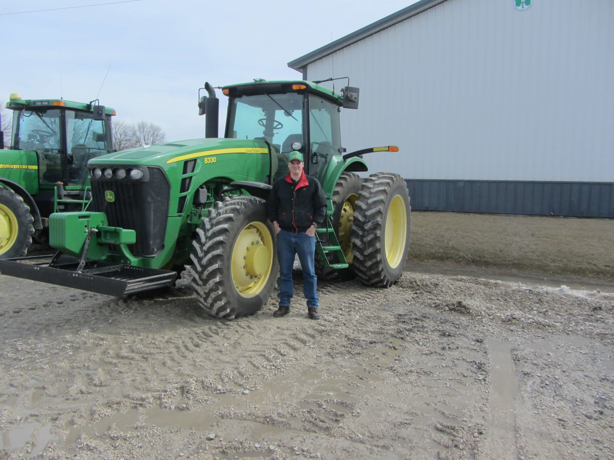 "My brother, Jason, drove our 8330 to the John Deere dealership in Manson recently so the tractor can get a spring ""checkup"" before fieldwork begins."