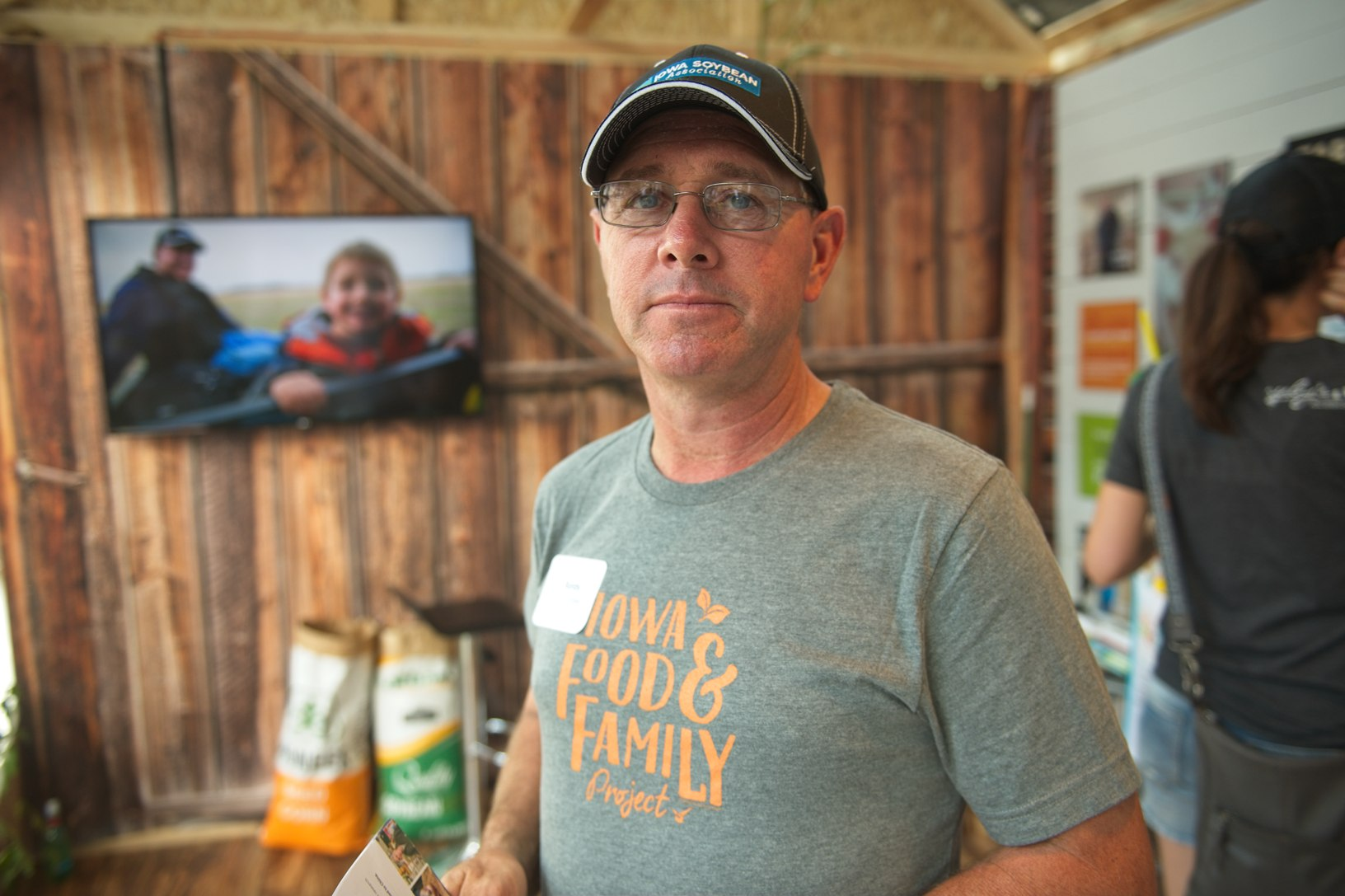 Randy Miller, a farmer from Lacona, welcomed visitors into the display to 'Follow a Farmer' and learn about Iowa agriculture. Photo credit: Joseph L. Murphy/Iowa Soybean Association