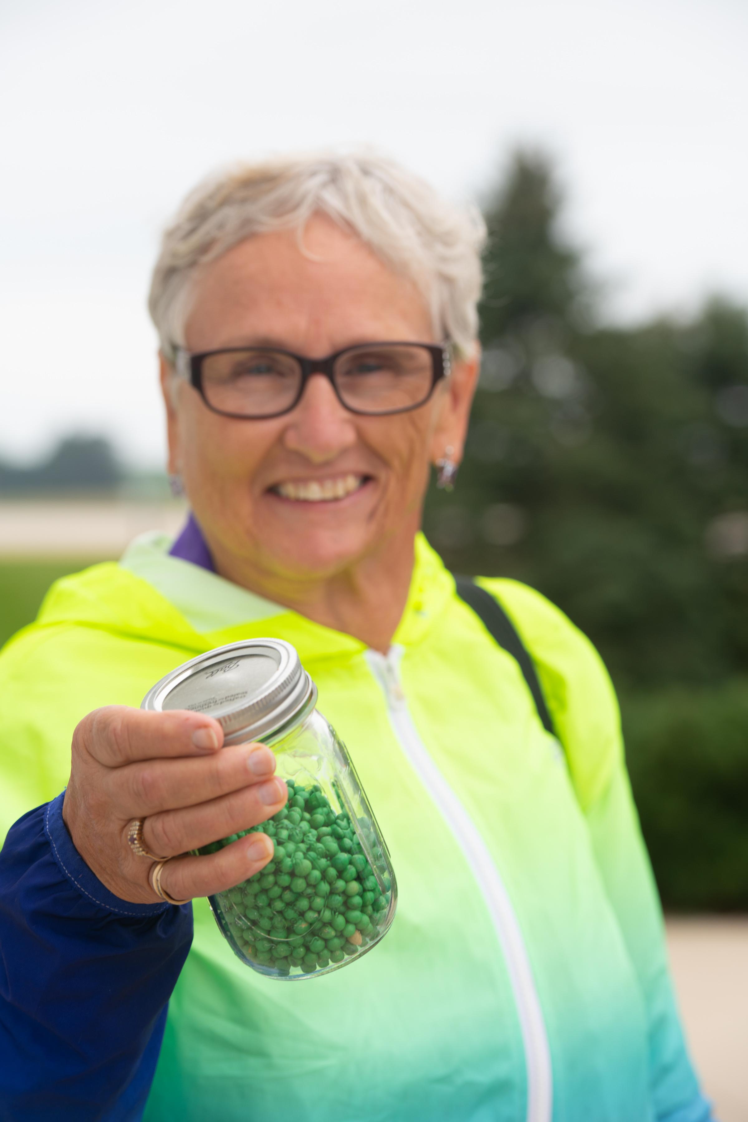 Participants got an up-close look at soybean seeds and corn kernels. Photo credit: Joseph L. Murphy/Iowa Soybean Association