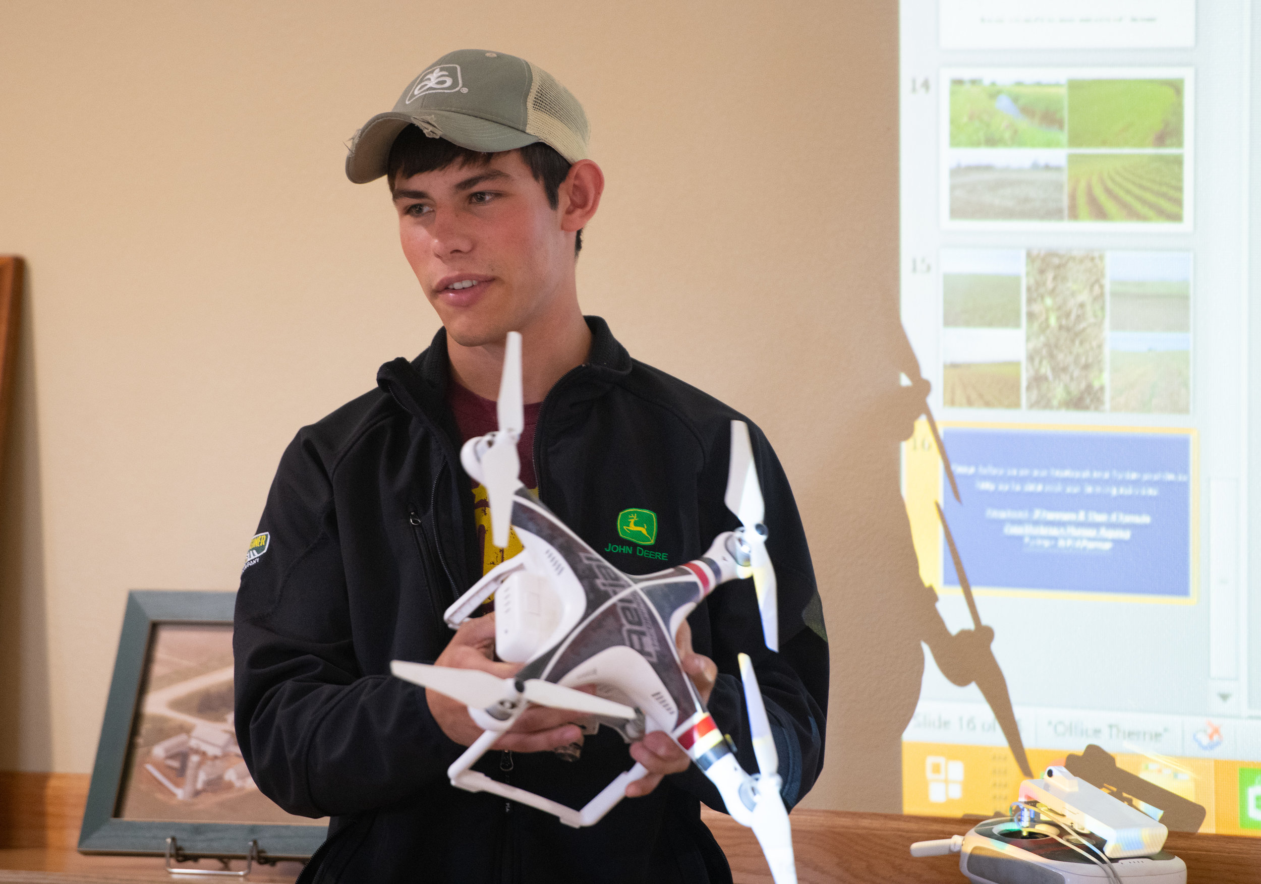 Andrey Shirbroun shares how the family uses drones to monitor crops. Photo credit: Joseph L. Murphy/Iowa Soybean Association