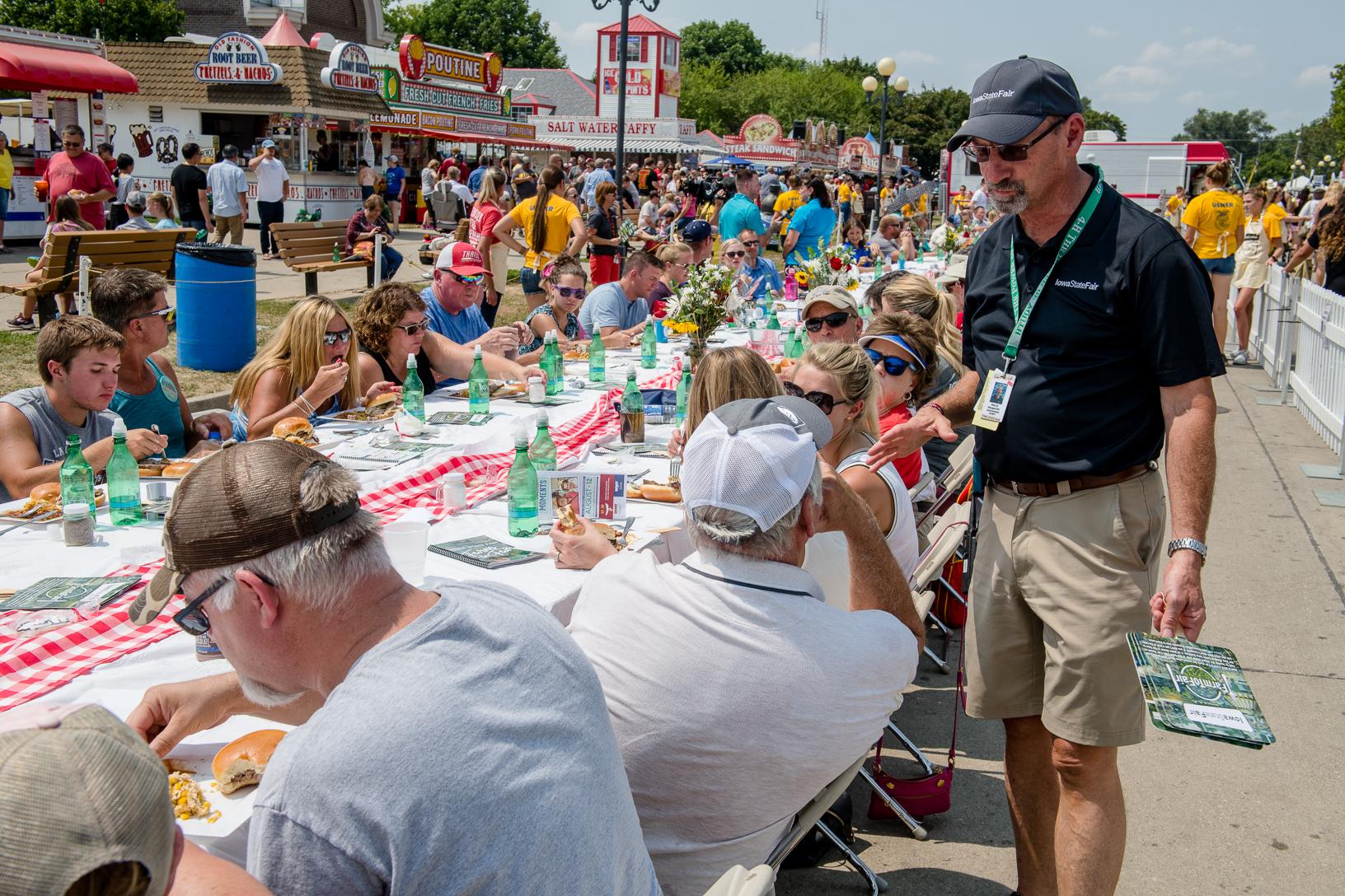 Gary Slater, CEO of the Iowa state Fair, greets Farm to Fair guests. Photo credit: Joseph L. Murphy/Iowa Soybean Association