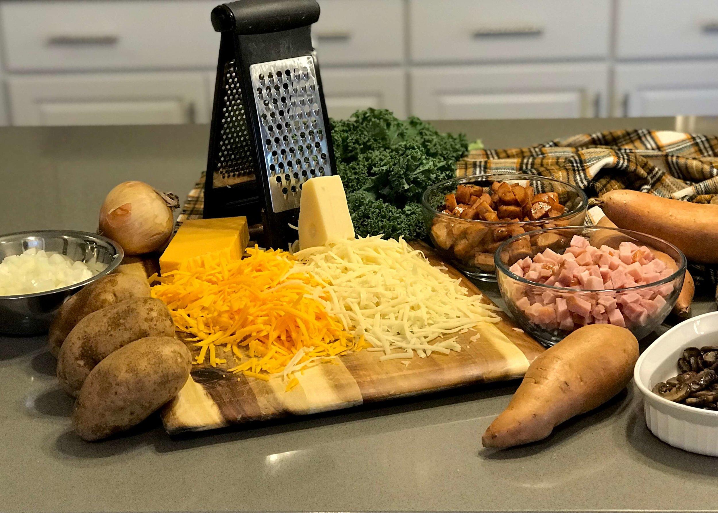 Ingredients for Au Gratin Potatoes and Ham. Photo credit: Anita McVey/Picnic Life Foodie