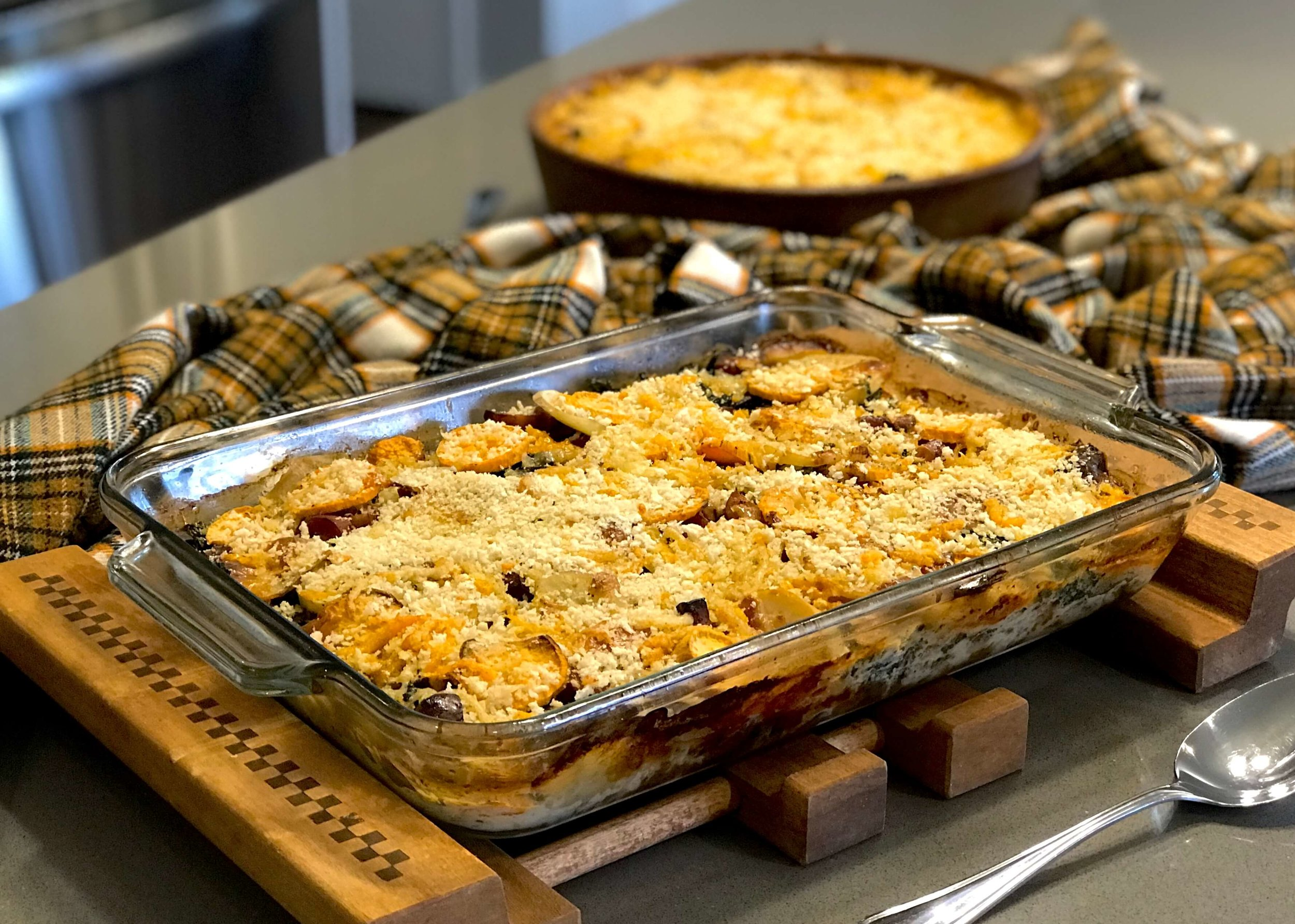 Change a few ingredients to create and Autumn Au Gratin casserole with kale and sausage. Photo credit: Anita McVey/Picnic Life Foodie