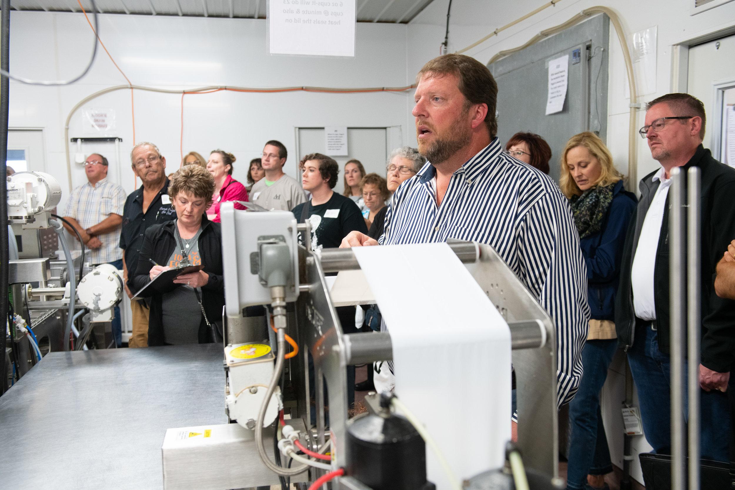 Dave Rapson explains the process of yogurt production at Country View Dairy. Photo credit: Joseph L. Murphy/Iowa Soybean Association