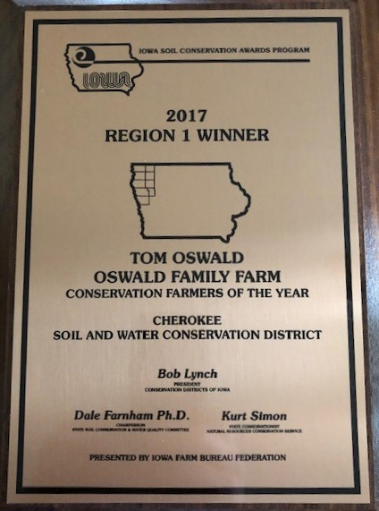 The Oswalds were recognized as conservation farmers of the year in 2017. Photo credit: Tom Oswald