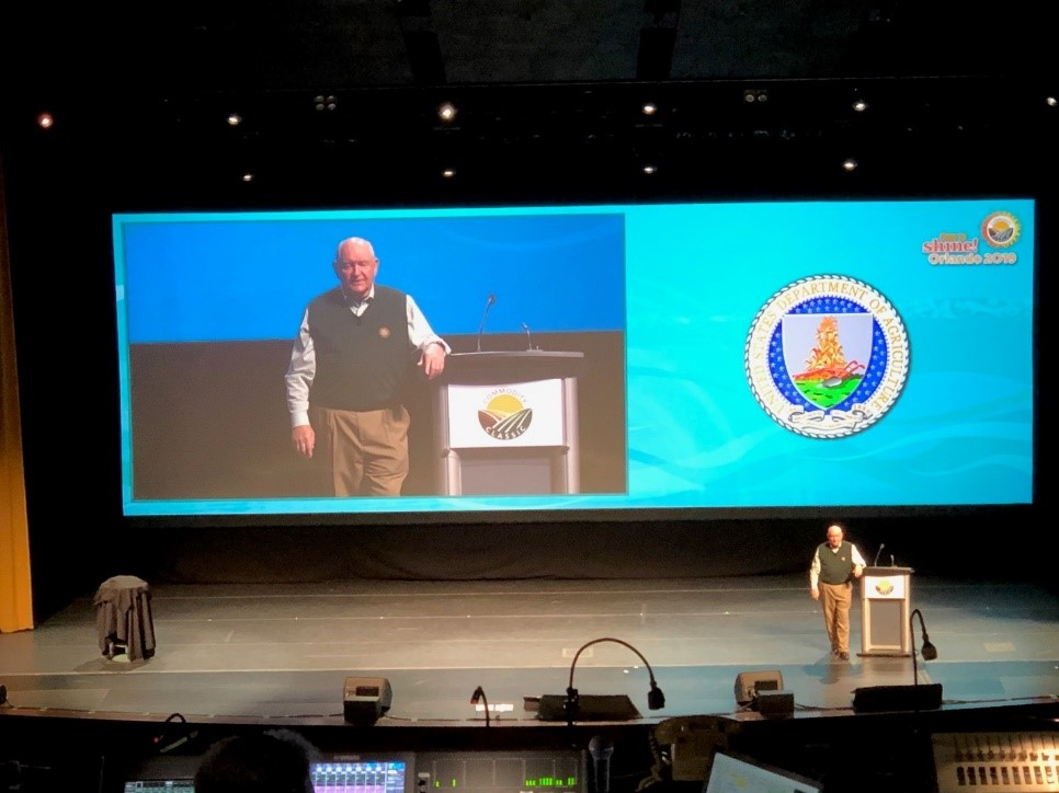 A highlight of Commodity Classic is always the annual address by the U.S. Secretary of Agriculture. This year's address was made by Secretary Sonny Perdue. He has a comfortable style many farmers appreciate. Photo credit: Tom Oswald