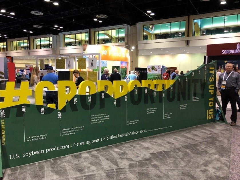 As a member of the United Soybean Board (USB) Executive Committee, one of my duties was to work our trade show booth at Commodity Classic, focused on #Cropportunity. Farmers and boards continually look for more soybean crop opportunities. Photo credit: Tom Oswald