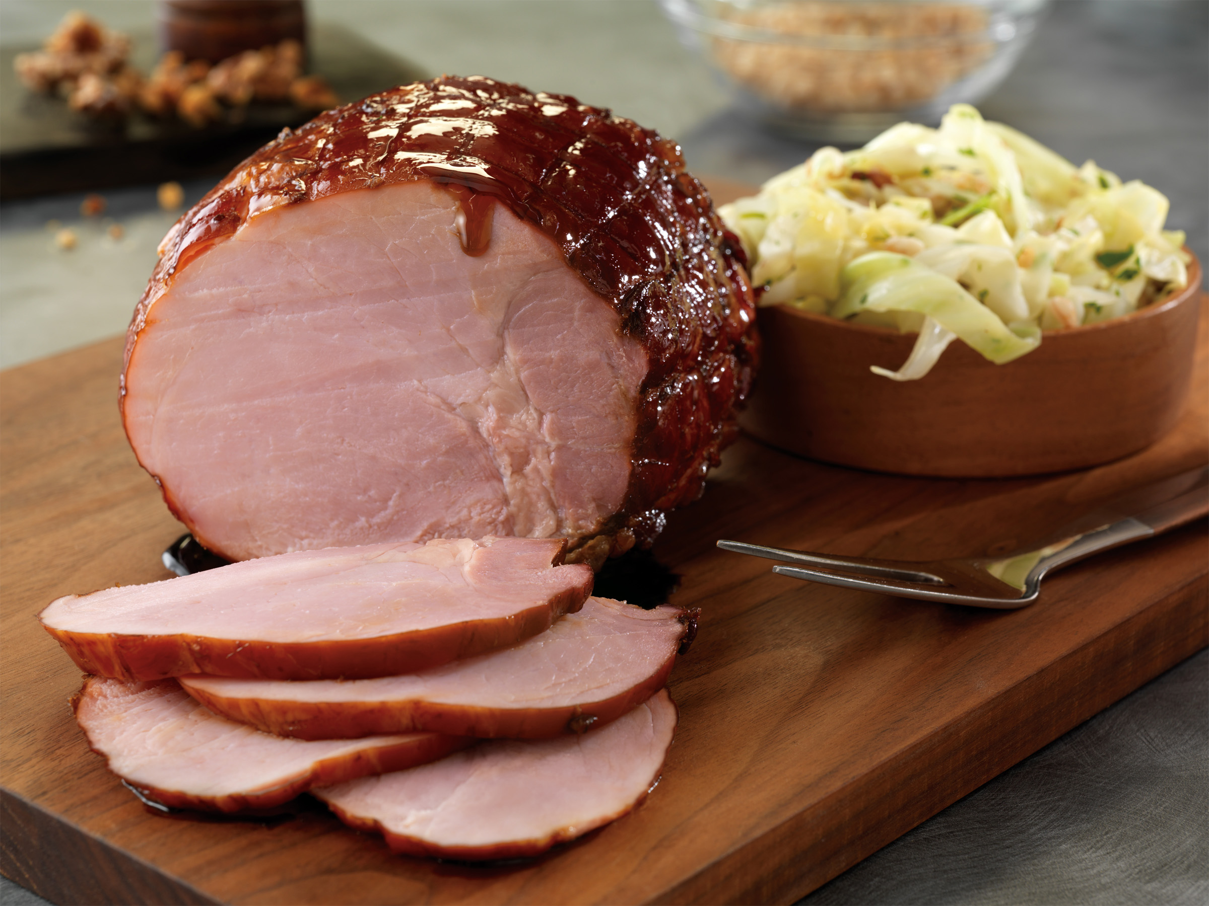 Apple+Cider+Ham+with+Molasses+Glaze+with+Warm+Cabbage%2C+Farro%2C+and+Toasted+Walnut+Slaw