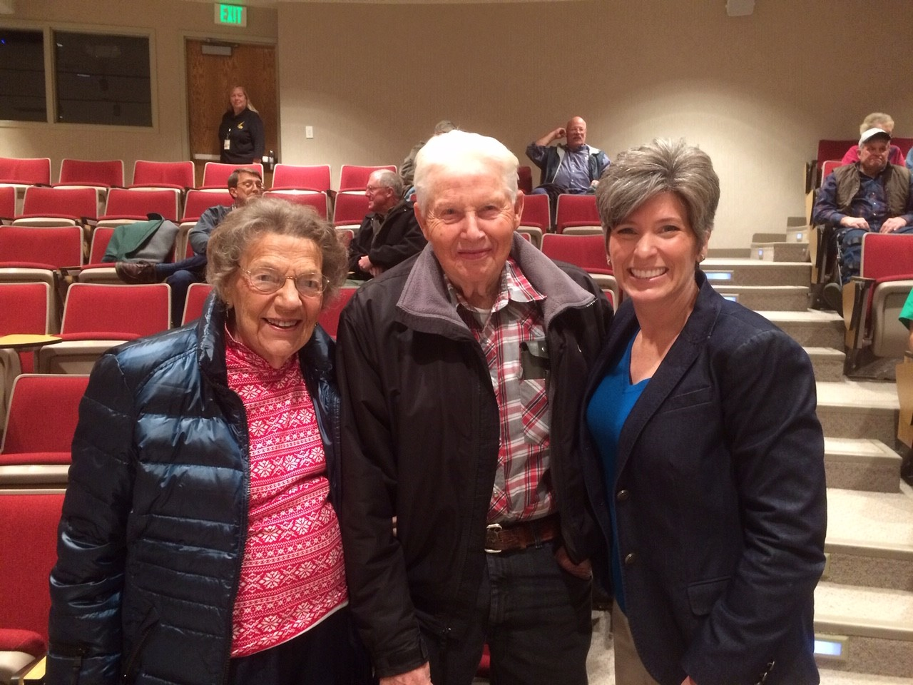 Sally and Stanley Oswald at an event with Senator Joni Ernst. Photo credit: Tom Oswald