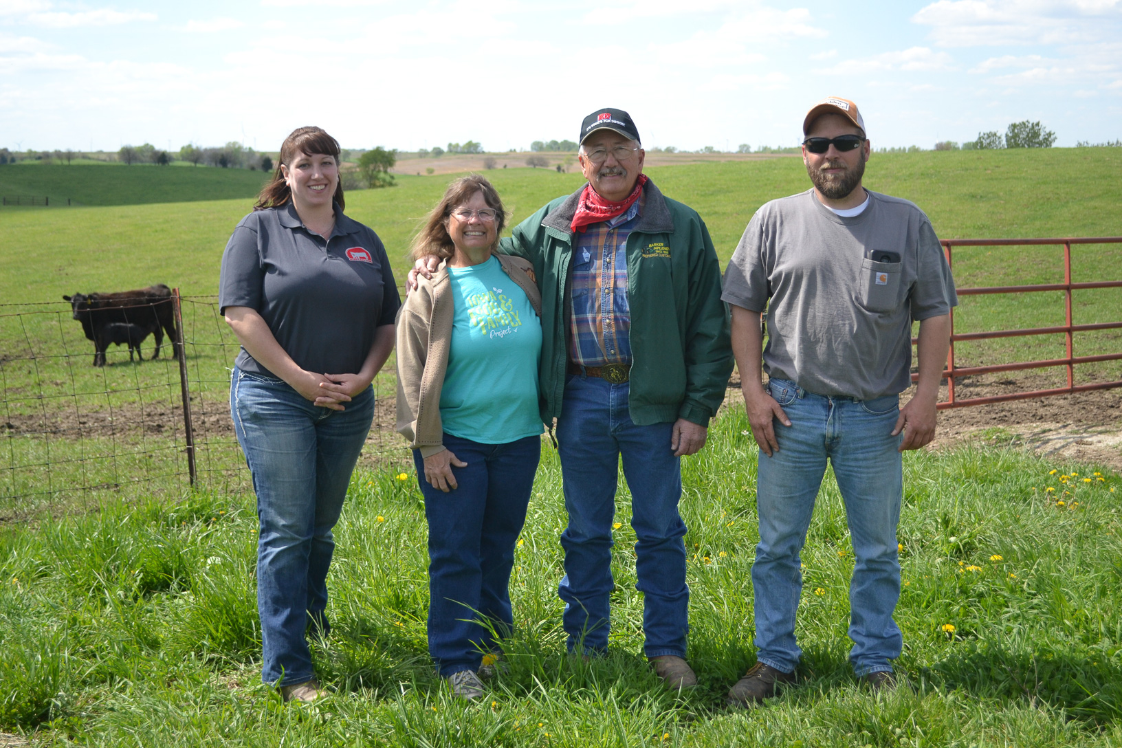 With a wet spring wreaking havoc on country roads near Justin and Corinne's pastures, the tour was moved to Justin's parents, Glenn and Bev Rowe, who run Rowe Ranch in Lorimor. Photo credit: Aaron Putze/Iowa Soybean Association