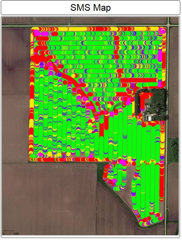 Desktop software allows me to manage and print spray application records, like this one from pre-plant soybean herbicide application. You can see a horn shaped wet spot that I had to navigate around in the lower field. Each spray pass is shown with the color indicating liquid application rate. Photo credit: Tom Oswald