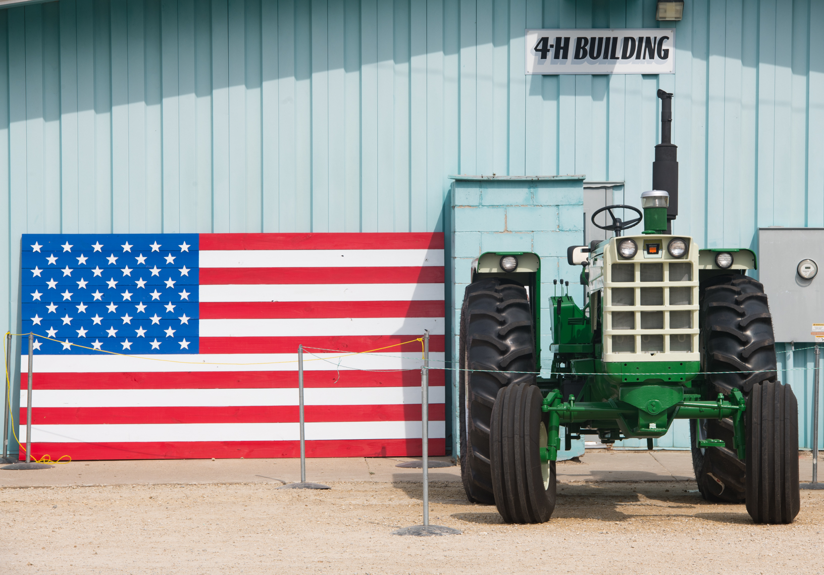 An Oliver Tractor on display next to the Stars and Bars at the Bremer County Fair. Photo credit: Joseph L. Murphy, Iowa Soybean Association