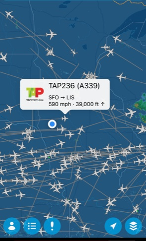 A Flight Aware screen shot from a summer evening. The blue dot is our place. This flight has a long way to go on its route to Lisbon, Portugal. Photo credit: Tom Oswald.