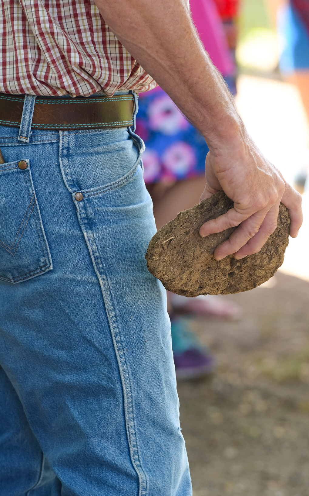 A contestant holds a cow chip while watching others compete in the Cow Chip Throwing Contest at the Iowa State Fair. Photo credit: Joseph L. Murphy/Iowa Soybean Association