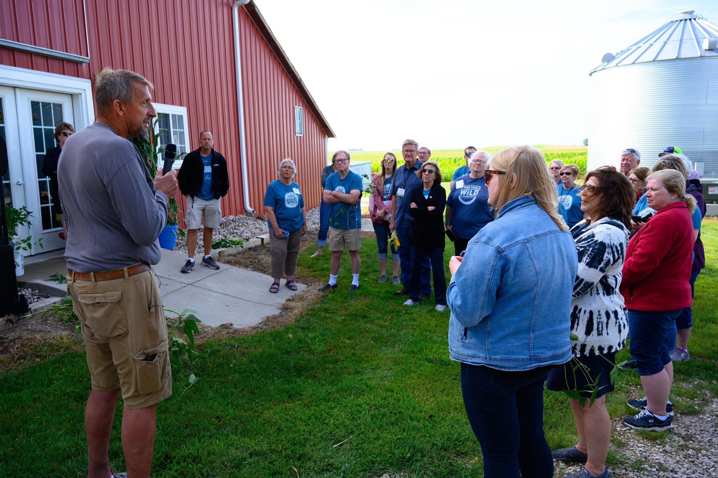 Jeff Frank welcomes participants to his Century Farm near Auburn. Photo credit: Joseph L. Murphy/Iowa Soybean Association