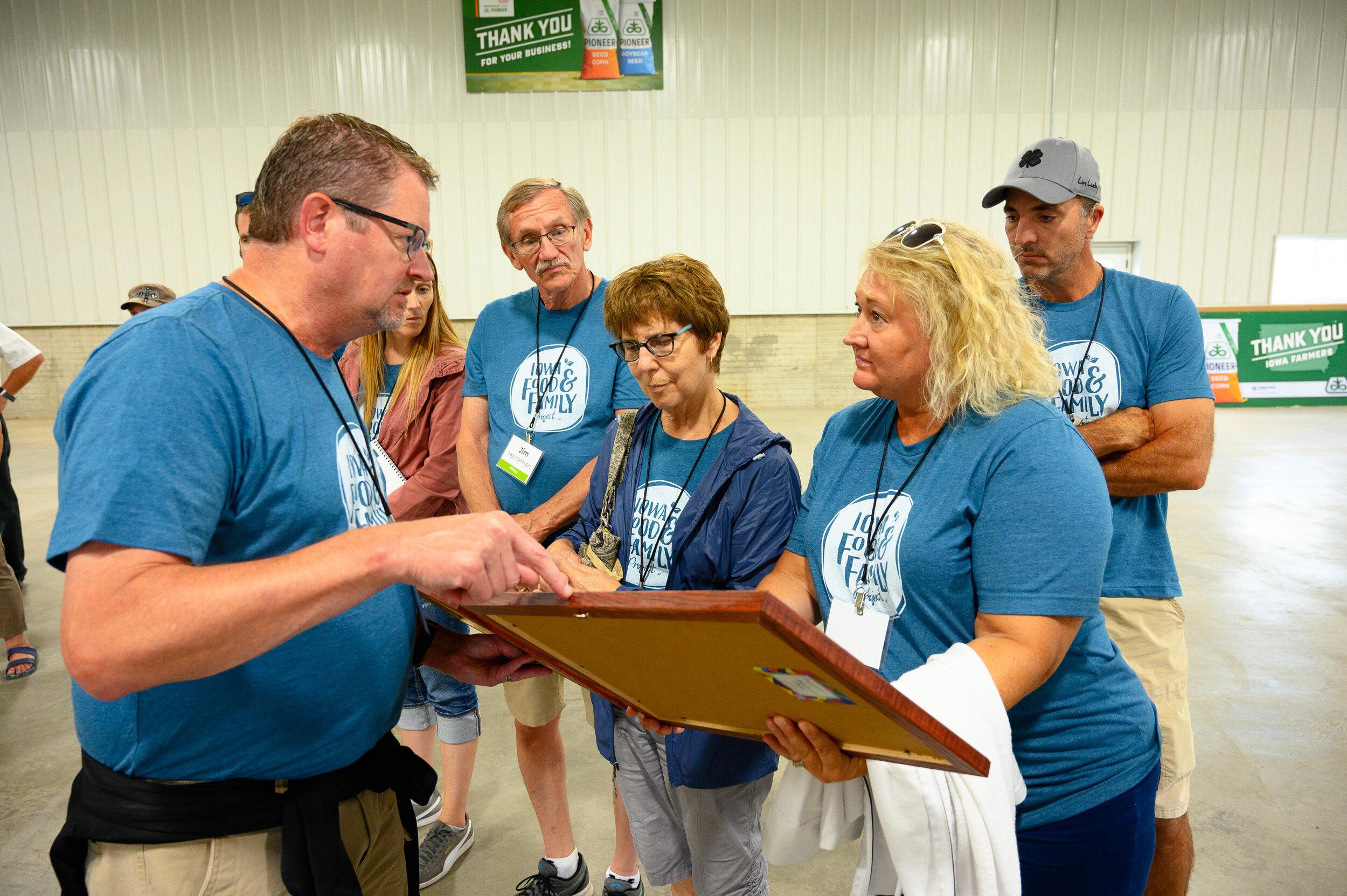 Participants learn about the family's history of farming near Lytton. Photo credit: Joseph L. Murphy/Iowa Soybean Association