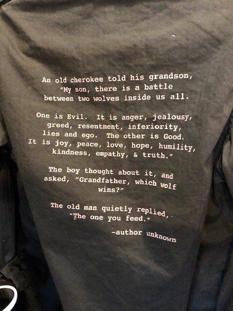 A bit of wisdom in a shop in Idaho.