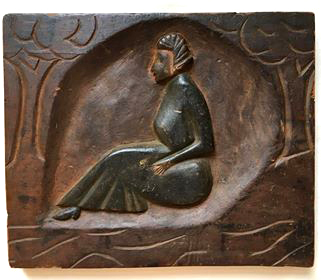 Handcarved Seated Woman