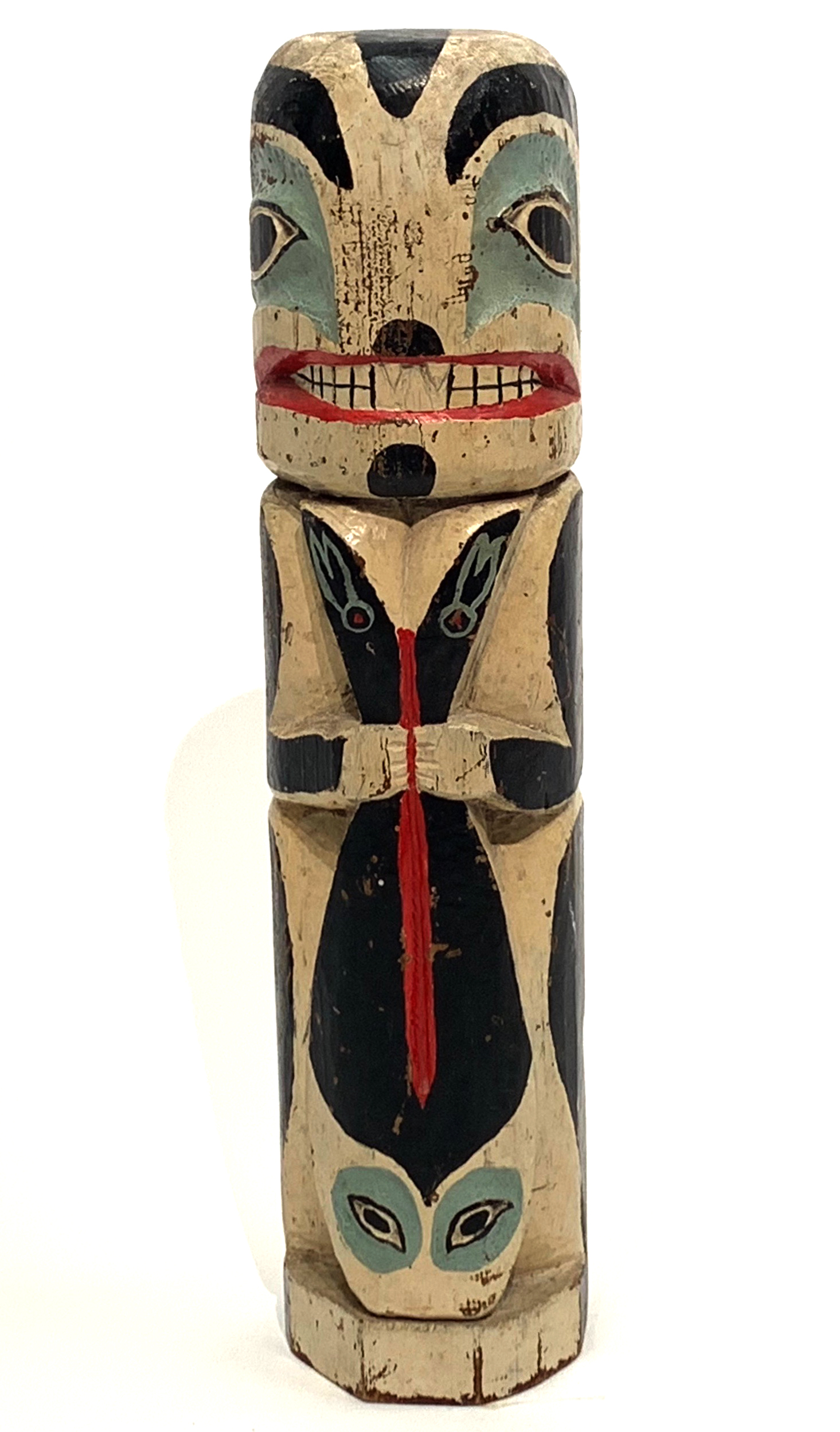 Native American FIgure and Fish Totem