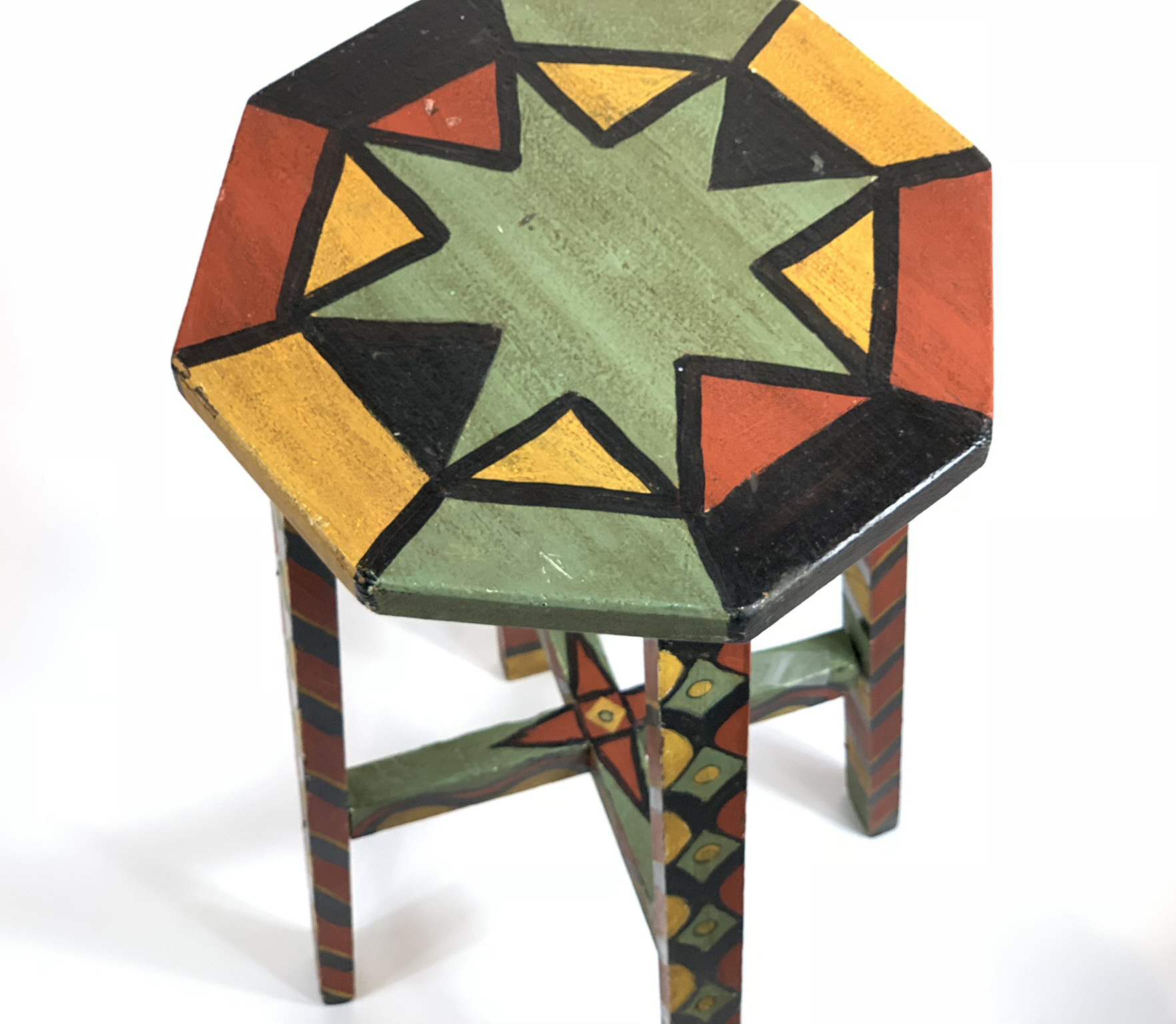 Folk Art Graphic Painted Stool