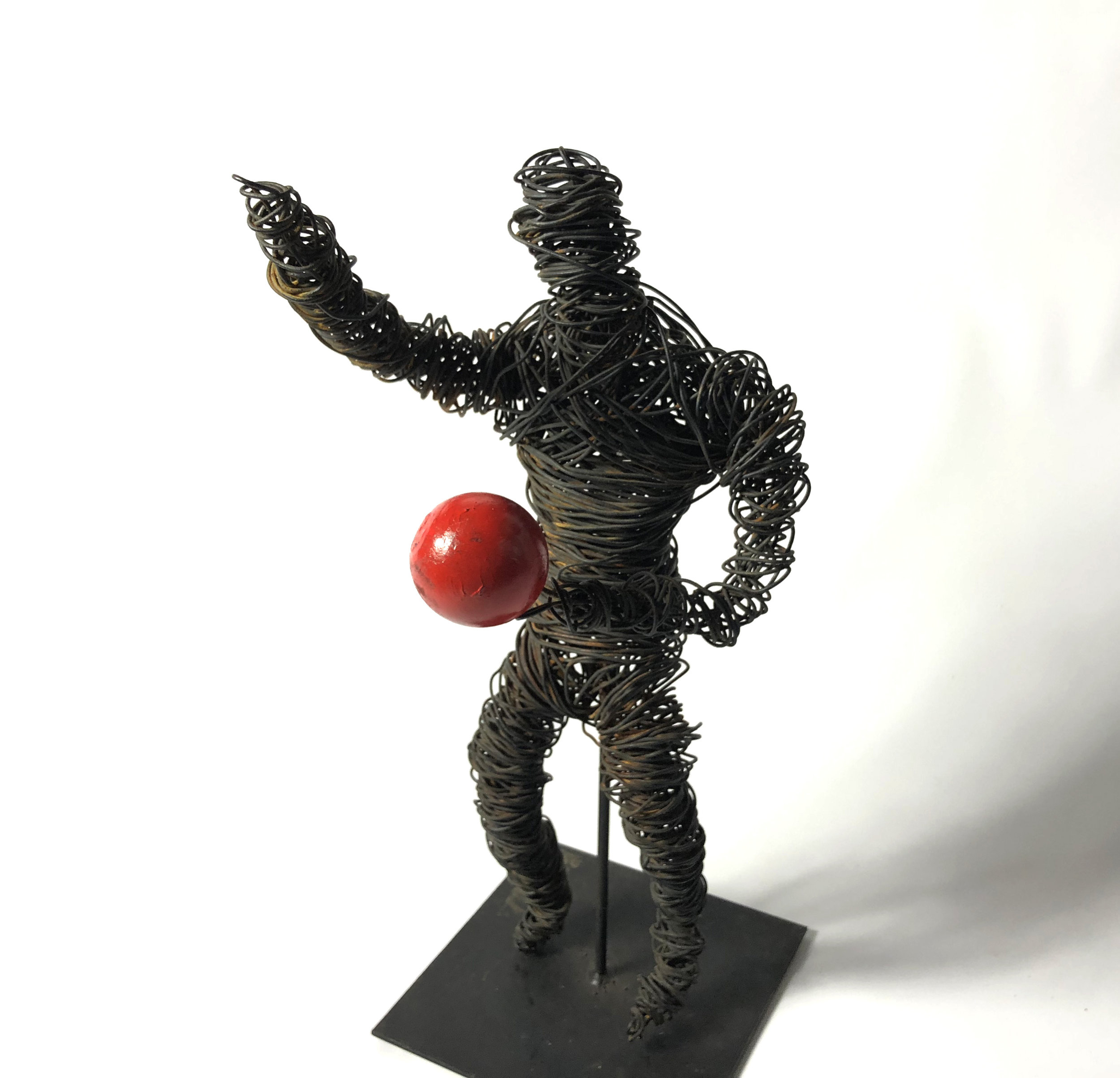 Primitive Wire Man with Wooden Ball