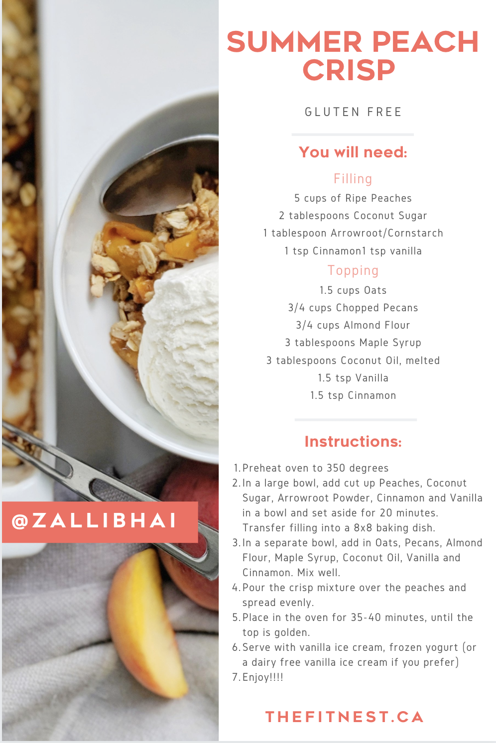 Summer Peach Crisp Recipe Card Fitnest