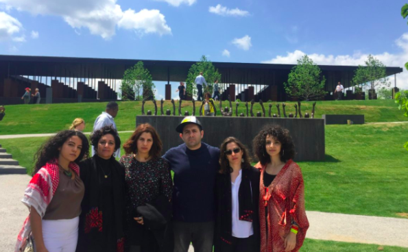 Palestinian human rights defenders at the National Memorial for Peace and Justice in Montgomery, Alabama.