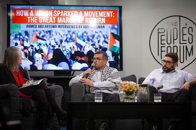 Democracy Now's Amy Goodman interviewing Ahmed Abu Artema and AFSC's Jehad Abusalim at The Peoples Forum in NYC on March 14.