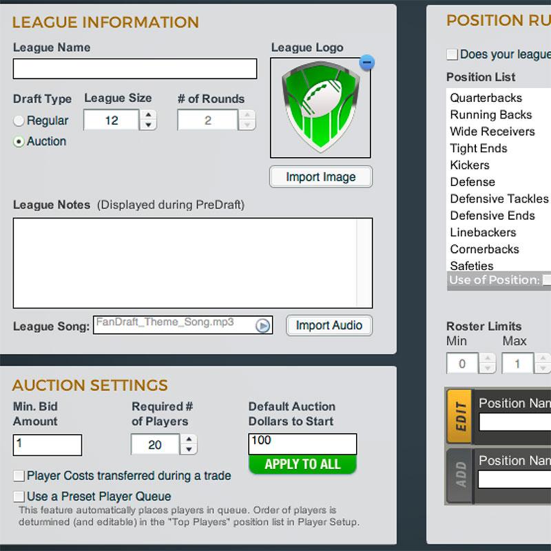FanDraft Football Features