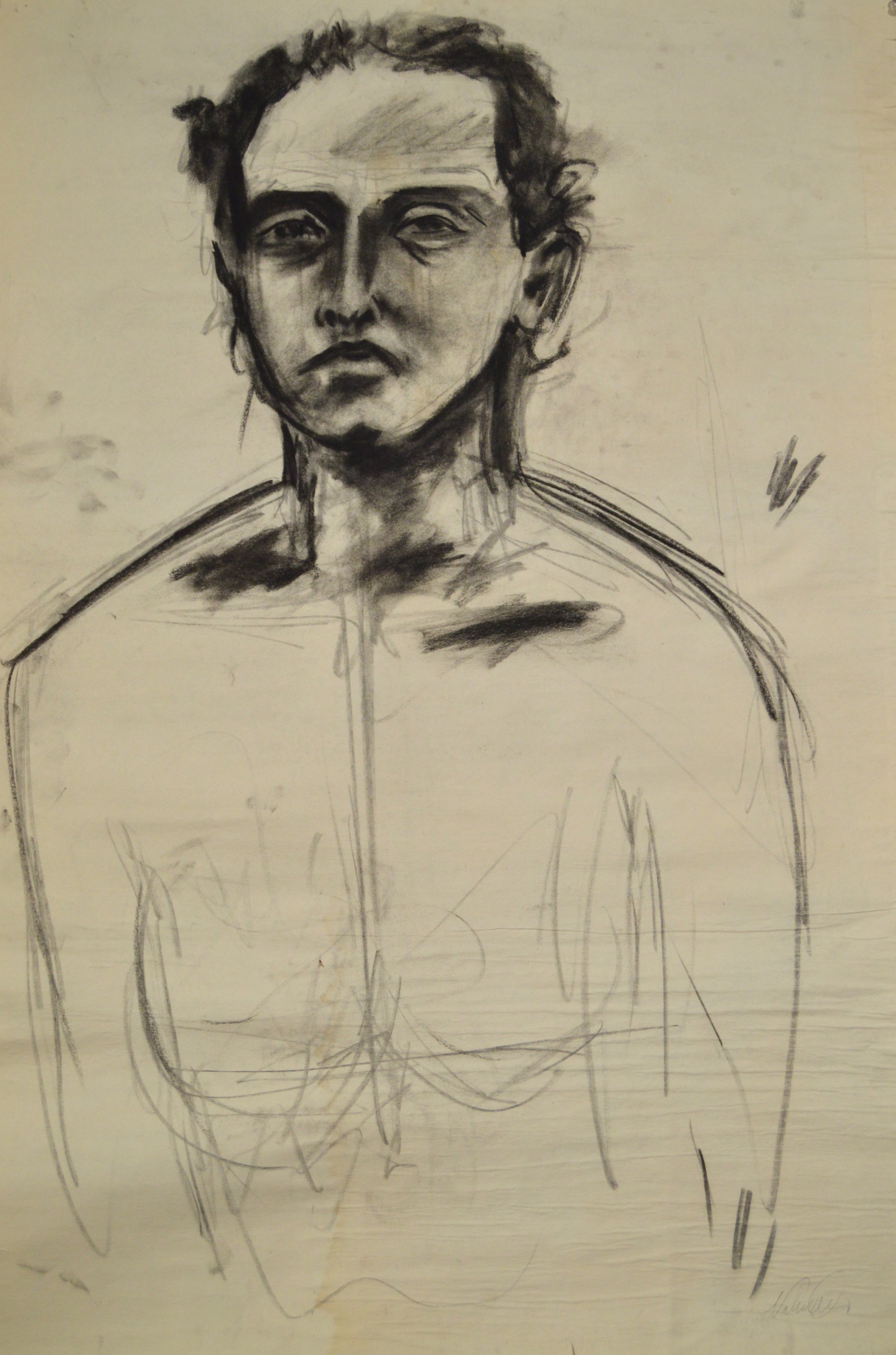 "Untitled (Figure Study #18)  charcoal on paper  22"" x 46""  1998"