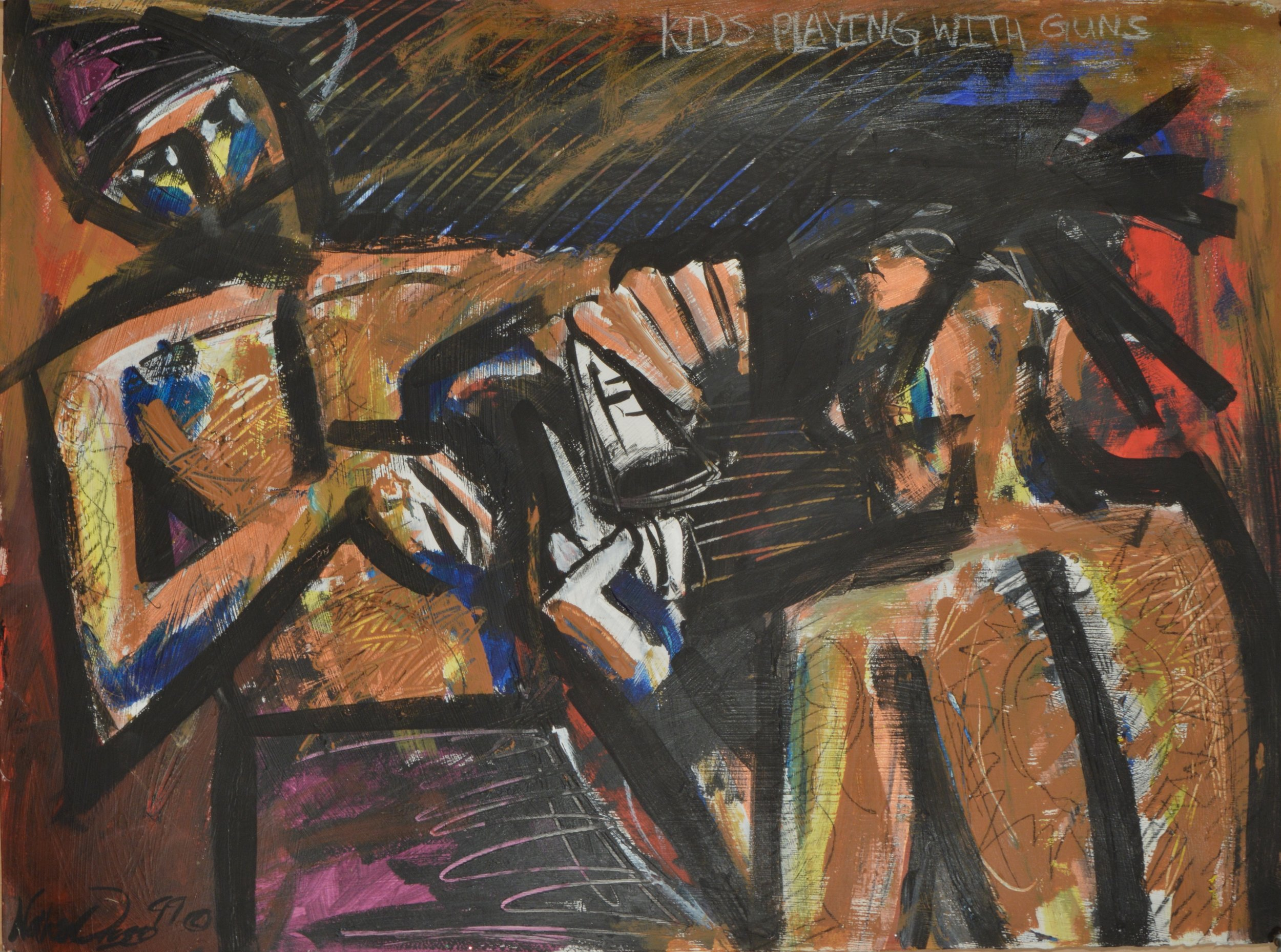 "Kids Playing with Guns  acrylic, gesso, charcoal, graphite, chalk on paper  22"" x 28""  1999"