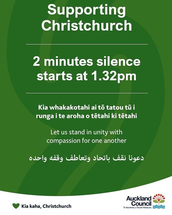 Today at 1.32pm we will stop to remember those who lost their lives in last week's tragedy in Otautahi