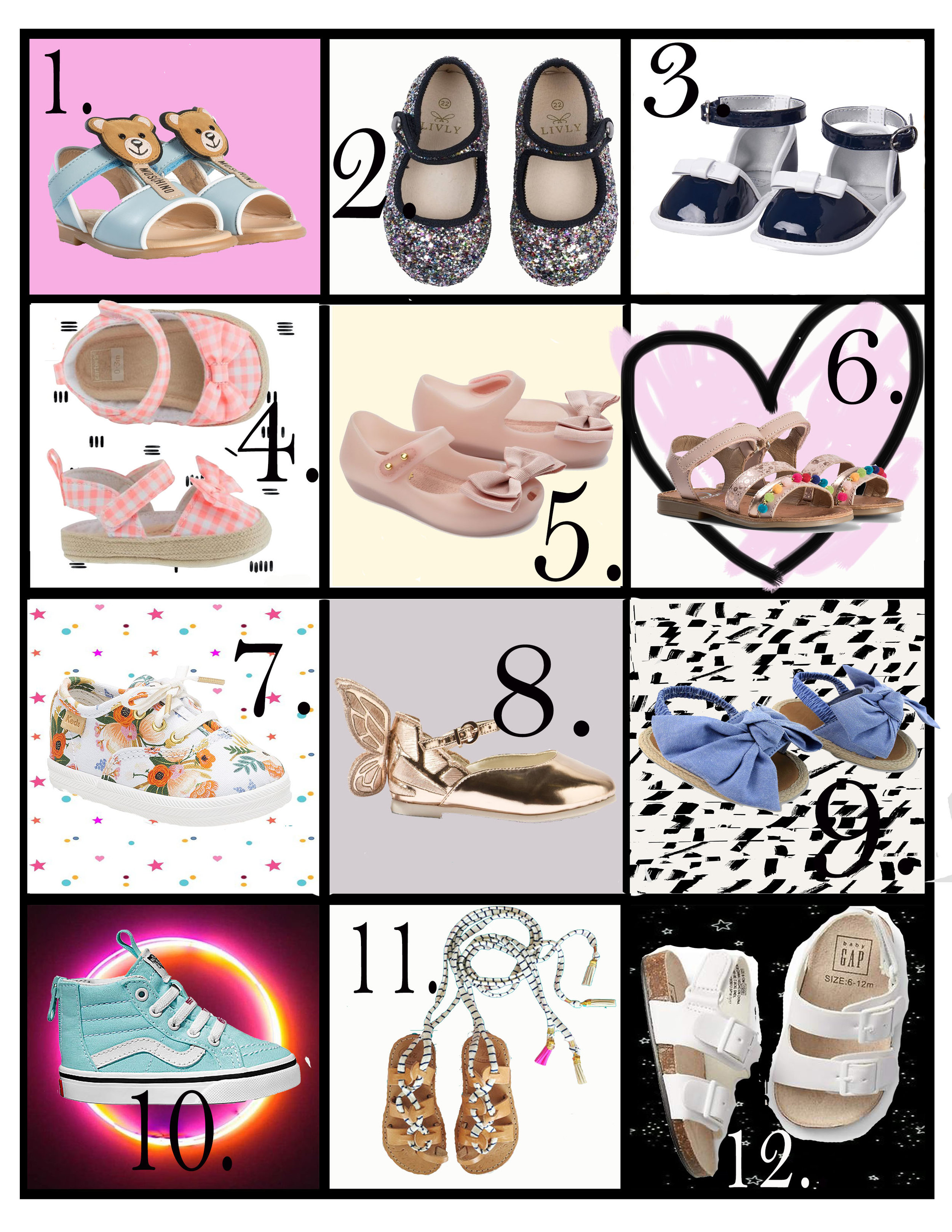 SHOES SHOES SHOES - There are about a million options when it comes to buying amazing shoes for kids. But something about summer shoes is just as much for your mini as it is for you! No more thick socks, cute baby toes are free and there's wayyyy more color! We've rounded up our favorites from high to low, from wild to sweet and everything in between.Time for a mini pedicure!