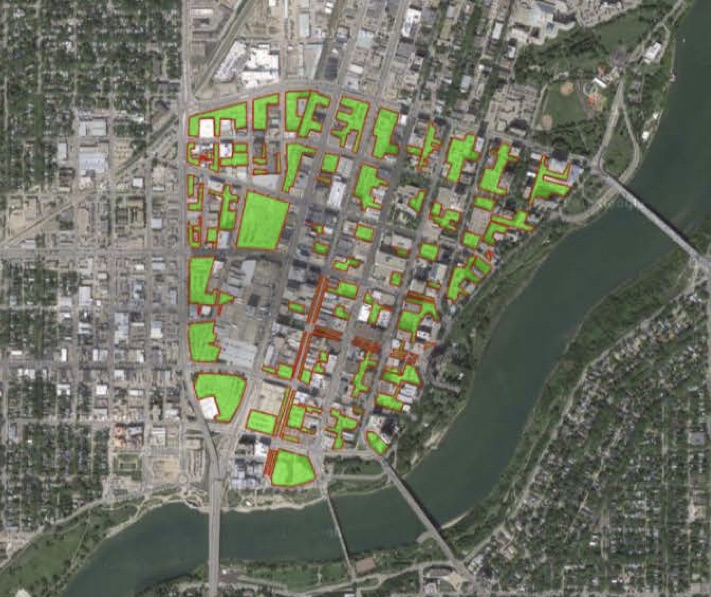 In this map of Saskatoon's Central Business District, vacant land/parking lots are shown in green.