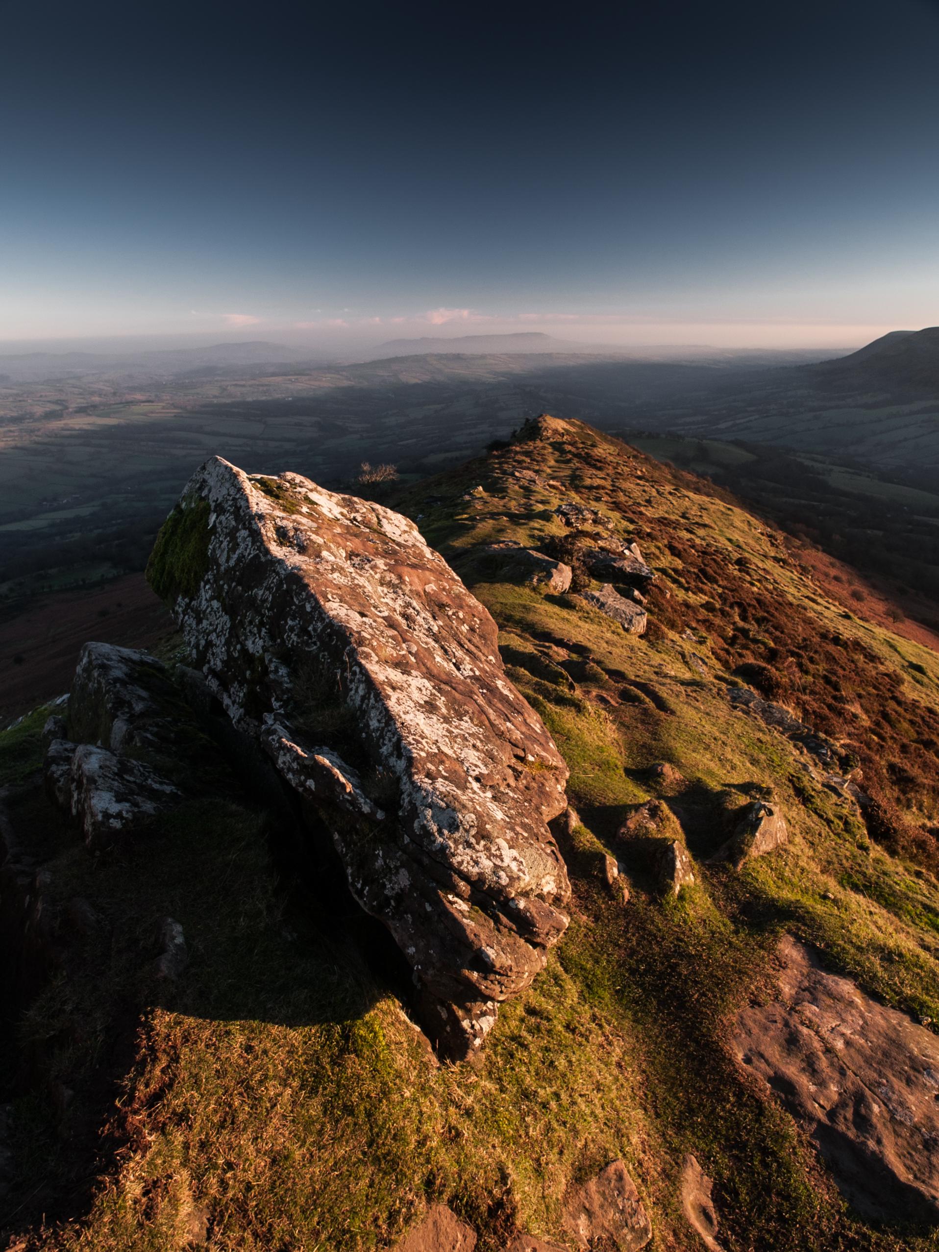 Olympus E-1. The Alien rock on Crib y Gath, Black Mountains. The English bit.