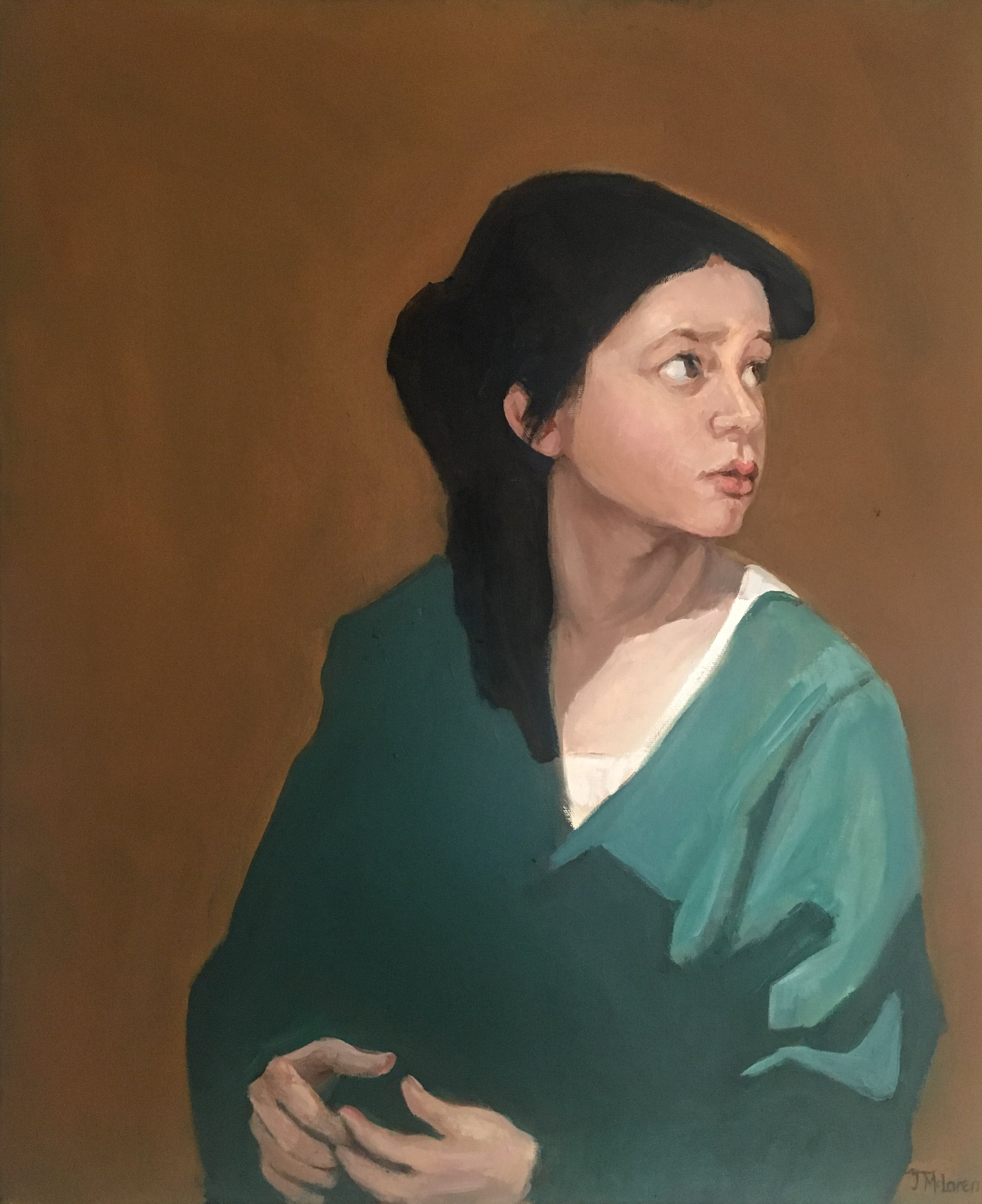 The reference for this portrait came from the town of Sulmona in Italy; a little girl waiting for the beginning of a parade that, in the end, was canceled because of rain. The flat shapes in the painting contrast with the modelling of her face and the figure's position on the canvas - turning to her right- creates tension and leaves the viewer wondering what is happening that affects her so.
