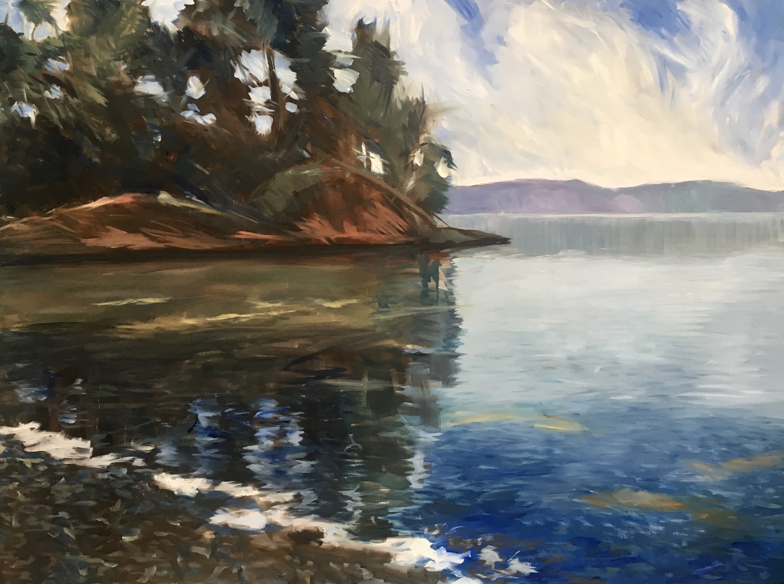 "Evening Light oil on canvas 48""x 36"".   The reference for this painting came from a little cove very close to us. Little streaks of sunlight interrupt the reflections in the water. We are so lucky to be able to go down to the shore after a long hot day and contemplate the serenity of this small and rare part of the world."