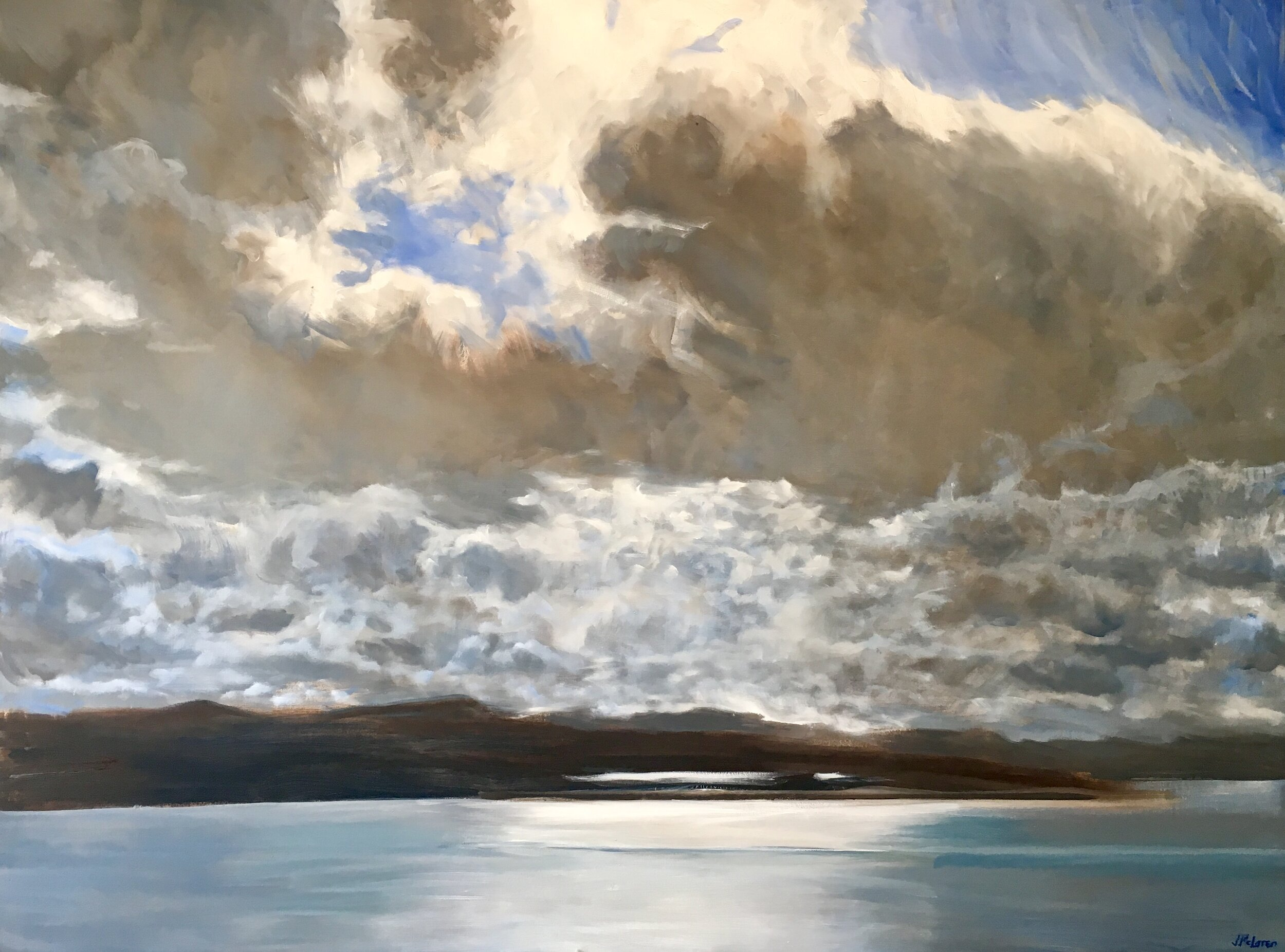 "Break in the Clouds. Oil on canvas 48"" x 36"". Love the combining of water, shore and sky - a simple pallet and big drama."