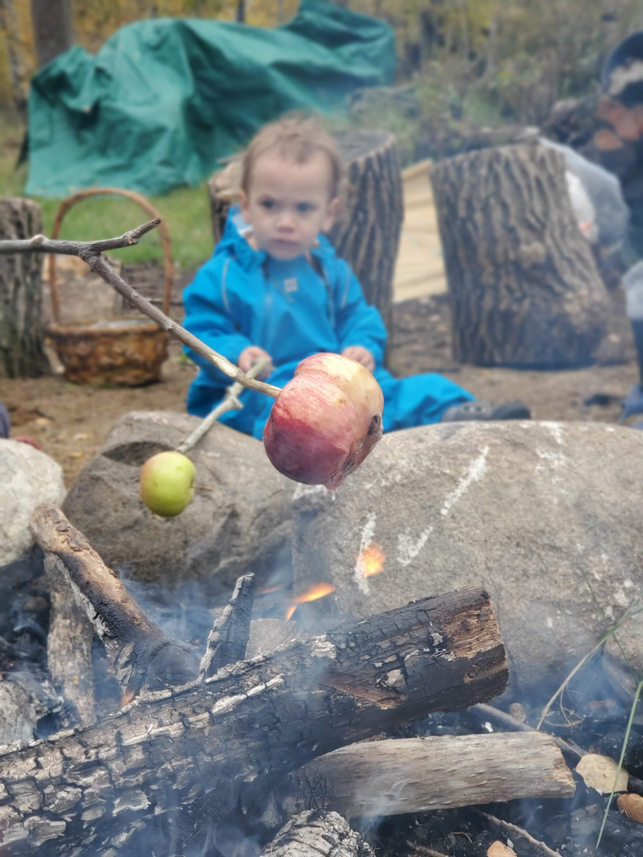 We ended with an apple roast, adding cinnamon and sugar much to Paris' delight. Seeing the little ones paying such close attention to fire safety was the sweetest part of the day. I felt proud.