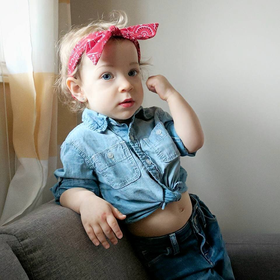 rosie the riveter baby halloween costume diy.jpg